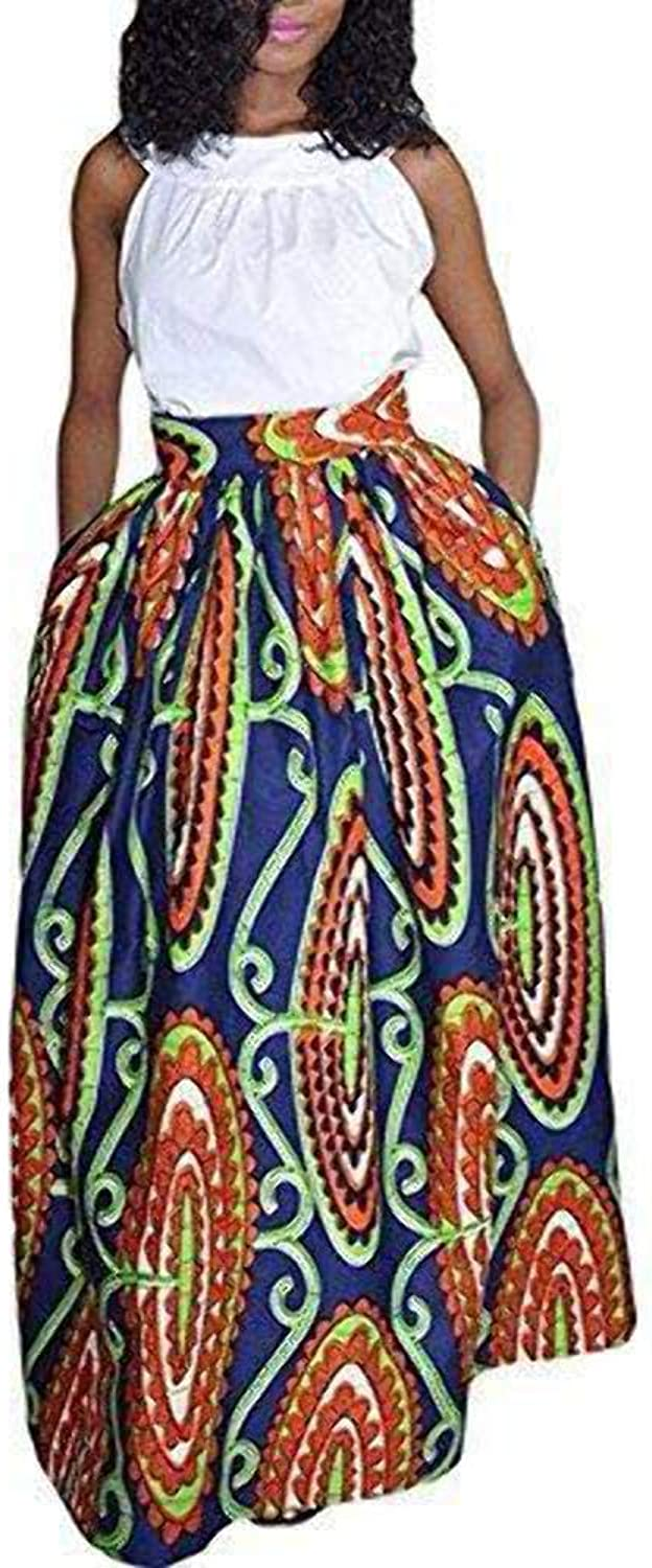 Tubute Womens African Floral Maxi Dress High Waist A Line Long Skirts With Pockets