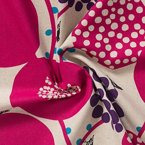 MIRABLAU DESIGN Stoffverkauf Baumwolle Leinen Canvas bedruckt mit großflächigem Vogelmotiv in pink und lila auf naturfarbenem Grund (4-221M), 0,5m