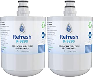 Refresh Replacement Refrigerator Water Filter Compatible with LG LT500P, 5231JA2002A, 5231JA2002A-S, ADQ72910901, ADQ72910902, ADQ72910907 and Kenmore 46-9890 Refrigerator Water Filter (2 Pack)