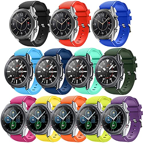 Compatible for Samsung Galaxy Watch 3 45mm Band/Galaxy Watch 46mm Bands Men Women/Gear S3 Frontier Bands/Classic Watch Bands,22mm Smart Watch Bands Silicone Straps Accessories Quick-Release Pin,Small