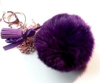 Elegant Fluffy Real Rabbit Fur Pompom Ball Keychain Handbag Tote Bag Key Ring with Eiffel Tower
