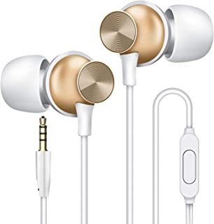 Wired Earbuds with Microphone, Overtime in-Ear Headphones with Pure Sound and Powerful Bass, Ear Buds with Mic, Earphones for iPhone 6/6s Plus/5s/SE, Galaxy, Android Smartphones, Tablets - Gold