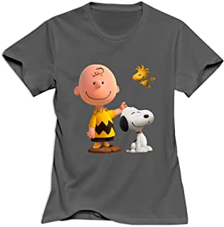 StaBe Women's Peanuts Movie 2015 Snoopy T-Shirt Quotes M DeepHeather