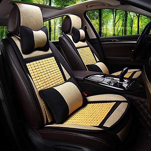 ZWWZWW Bamboe Rotan Ventilatie En Lederen Stitching Auto Stoel Kussen Set Blacksuit
