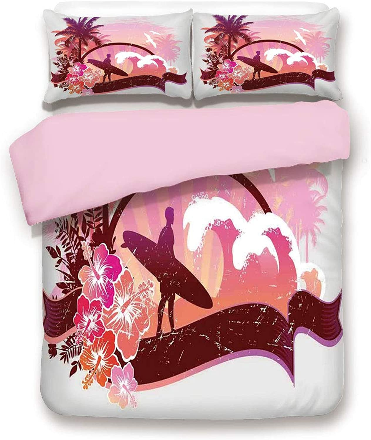 Pink Duvet Cover Set& xFF0F;FULL Size& xFF0F;Surfer on Tropical Beach Standing by the Ocean Challenging the Waves Digital Graphic& xFF0F;Decorative 3 Piece Bedding Set with 2 Pillow Sham& xFF0F;Best Gift For Girls Women& xFF0F;Purple P