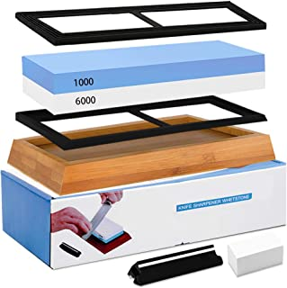 Knife Sharpening Stone Whetstone 1000/6000 Grit Water Stone Sharpener Kit 2 Sided Wet Stone Set for Kitchen Chef Pocket Knives Chisel, Bonus Non-slip Bases Holder, Flattening Stone, Angle Guide