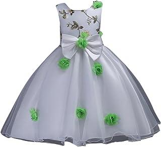 Qitun Vestido de Flores Boda Niña Elegante Vestido de Princesa Infantil Tul Imprimir Tutu Fiesta de cumpleaños Vestidos