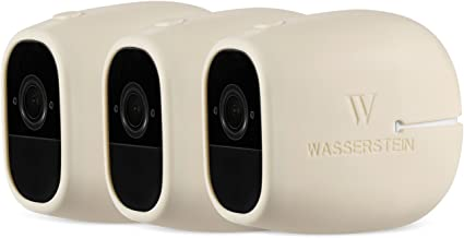 3 x Silicone Skins Compatible with Arlo Pro & Arlo Pro 2 Smart Security - 100% Wire-Free Cameras - by Wasserstein (3 Pack, Beige)