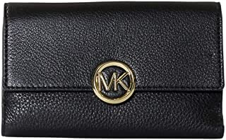 Michael Kors Logo Lillie Large Pebble Leather Carryall Wallet - Black