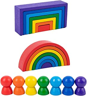 yeesport Wooden Rainbow Stackers Set Funny Educational Preschool Nesting Puzzle Blocks Set Building Block Toy