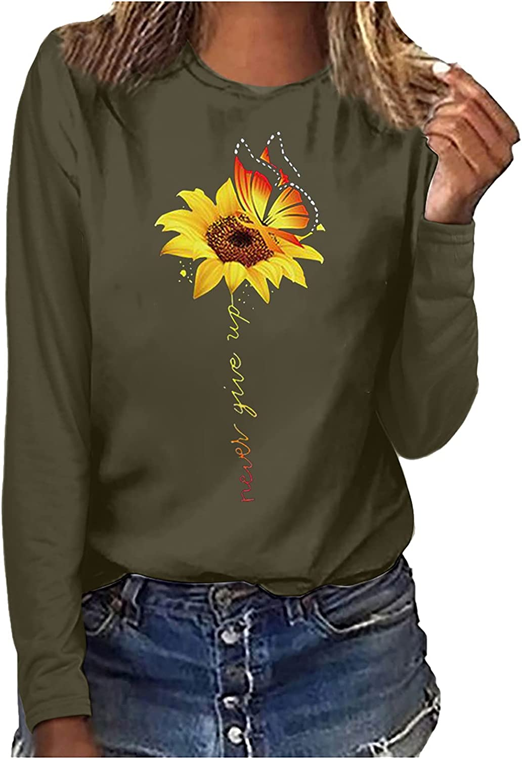 MEIbibibi Sunflower Print T-Shirts for Women O-Neck Long Sleeve Top Blouse Loose Fitted Daily Work Pullover