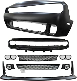 Front Bumper Compatible With 2015-2017 Dodge Challenger SRT | HellCat HC Style PP Splitter Spoiler Valance Chin Diffuser Body kit by IKON MOTORSPORTS | 2016