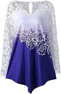 CUCUHAM Womens Printing Lace Shirt Long Sleeve Shirt Casual Tops Ladies Blouse