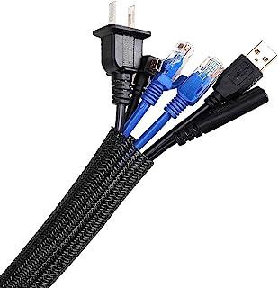 AGPTEK kabelrör, självstängande kabelskydd, vävd och kapad kabeljacka, flexibel 2m, diameter 16-28mm, göm i skrivbordet, T...