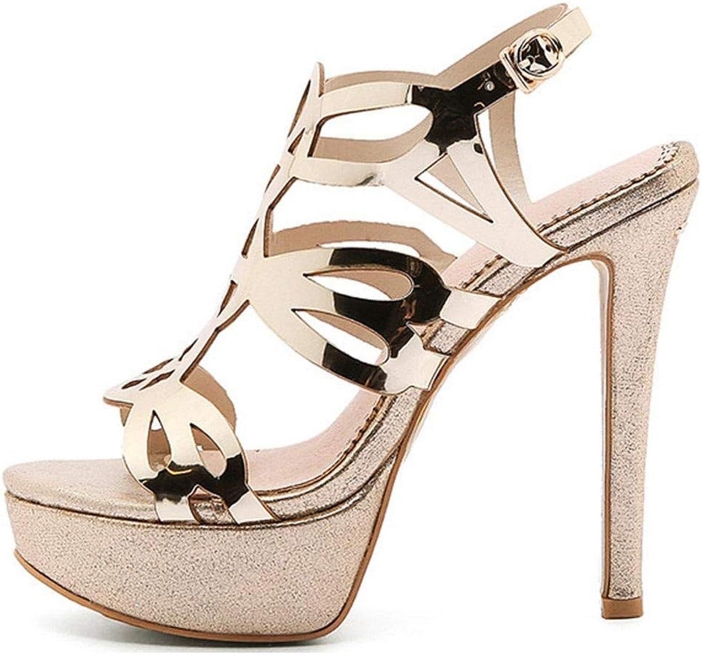 Hysxm Frauen Gold Gold Open Toe Heels Sandalen Plus Größe 33 43 Plateauschuhe Sexy Peep Toe Glitter Strass Sandalen