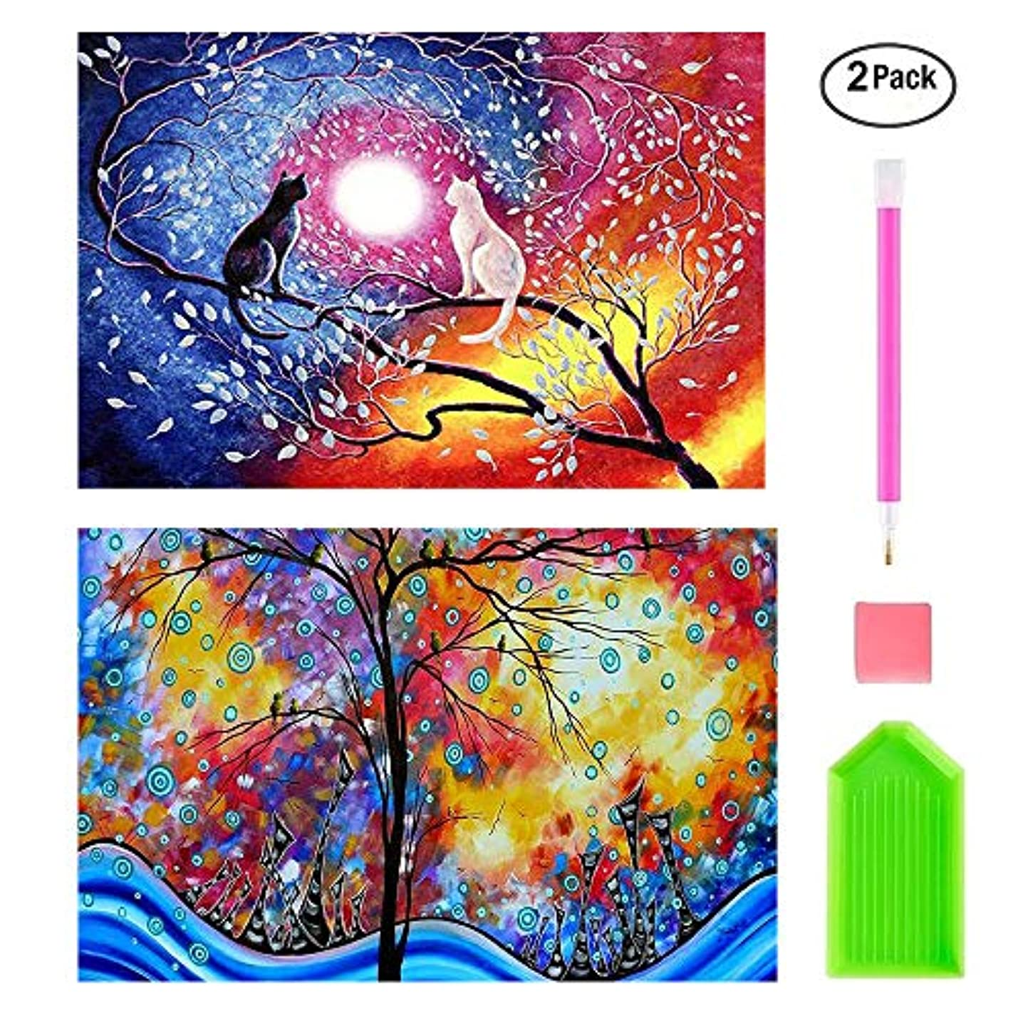 Twuky 5D DIY 2 Pack Full Drilling Diamond Painting ,by Number Kits Crafts & Sewing Cross Stitch,Wall Stickers for Living Room Decoration,Cat and Painting(14X16inch/35X40CM)