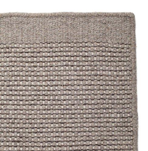 URBANARA Teppich Kolong - 100% Reine Woll-Baumwoll-Mischung, Graubraun, handgewebt – 140 x 200 cm, Wollteppich, Wohnteppich, Schlafzimmer-Teppich, Wohnzimmer-Teppich, Kinderzimmer-Teppich
