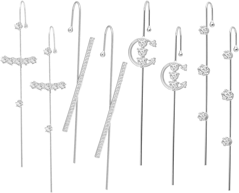 choice of all 4Pairs Ear Cuff Wrap Crawler Hook Earrings for Women Girls Unique Long Earrings Hypoallergenic Stud Climber Earrings