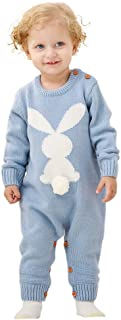 mimixiong Baby Sweater Toddler Jumpsuits Kid's Knitted Bunny Romper for Easter Christmas