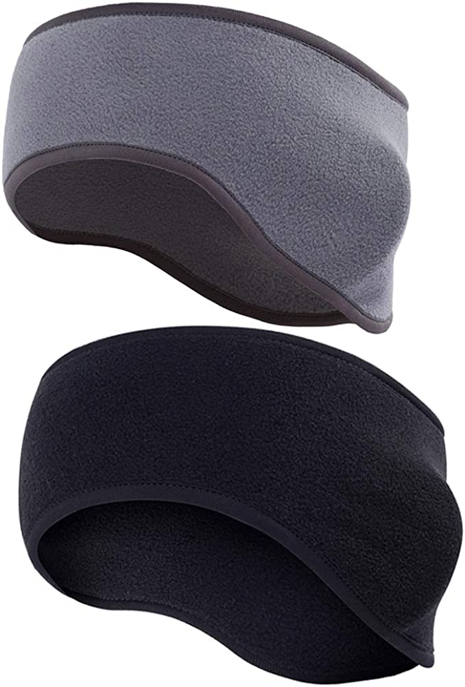 2Pcs Fleece Ear Warmers Headband Winter Outdoor Sport Ear Muffs Ear Band Ear Cover Head Wrap Running Sweatband for Men and Women,Black and Gray