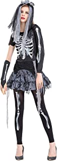 Womens Skeleton Bride Costume for Halloween Party, Ghost Zombie Fancy Dress