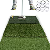 Rukket Tri-Turf Golf Hitting Mat Attack | Portable Driving, Chipping, Training Aids for Backyard with Adjustable Tees and 9 Foam Practice Balls (Standard (25' x 16'))