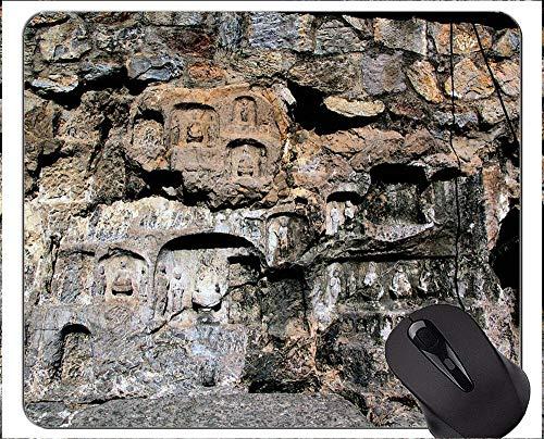 Mauspad mit Rastkante, Grottenbuddha-Statue, Gummi-Mauspad mit ästhetischem Gefühl