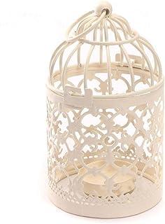 comprar comparacion Fablcrew Portavelas de metal romántico con forma de jaula de pájaros para bodas, decoración del hogar, color blanco