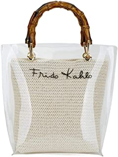 2894277cc4ad PVC Clear Bamboo Top-Handle Bag Quilted Chain Strap Shoulder Purse  Waterproof Transparent Handbag