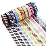 Cheriswelry 10 rollos de cinta a cuadros de 10 mm, cinta de búfalo a cuadros, cinta de regalo de Navidad, para manualidades, decoración de fiestas, 10 colores