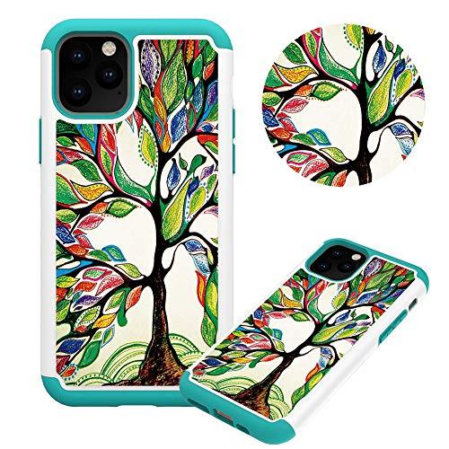 Hülle für iPhone 11 6.1,Ölgemälde Baum Muster Weich Silikon TPU + Hart PC Hybrid Double Beidseitiger Stoßfest Handyhülle Kratzfest Rüstung Schutzhülle