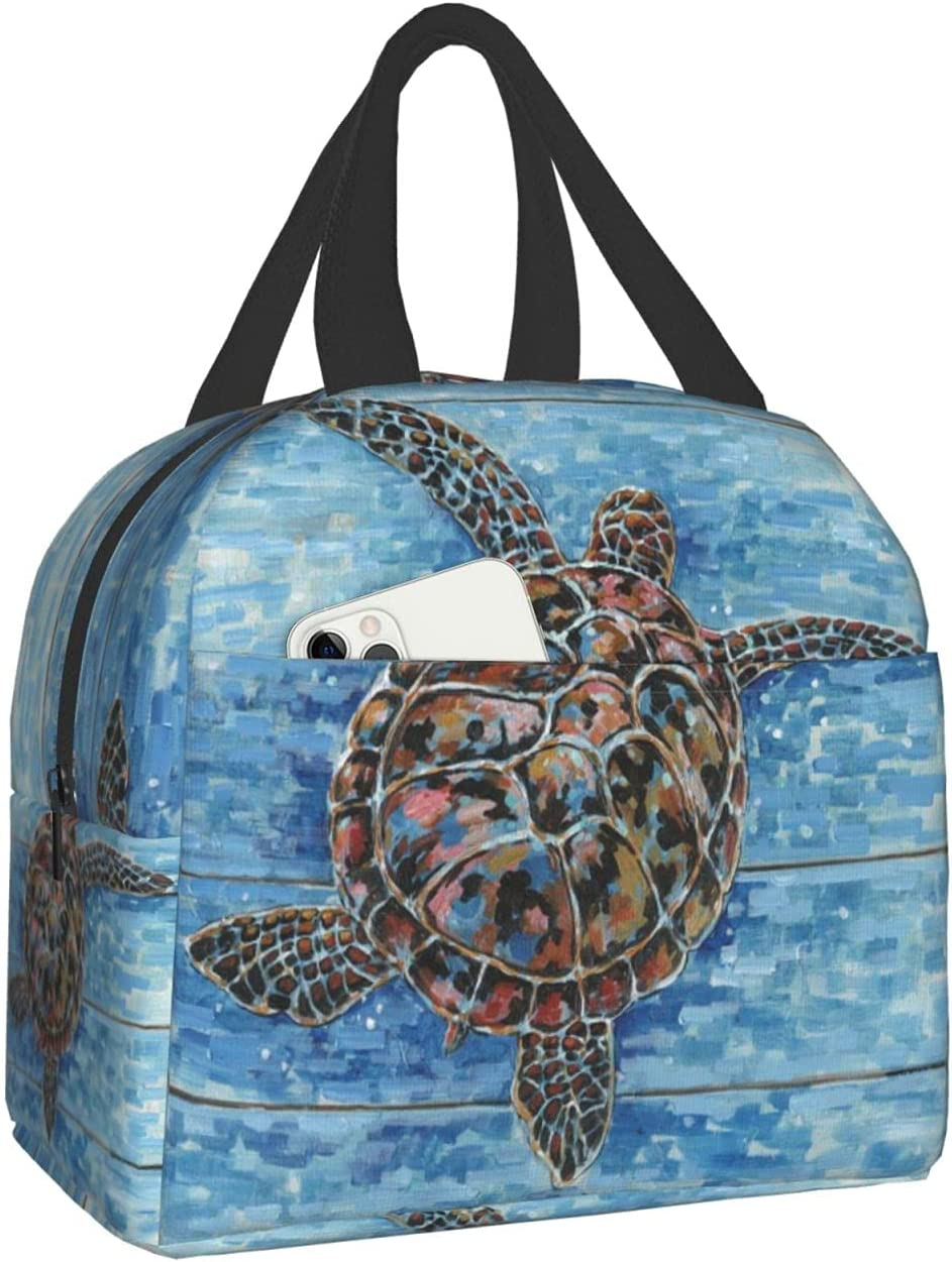 Insulated Lunch Bag Sea Turtle Lunch Tote Bag with Front Pocket Cooler Lunch Bag Reusable Lunch Box Container for Women Men Kids Work