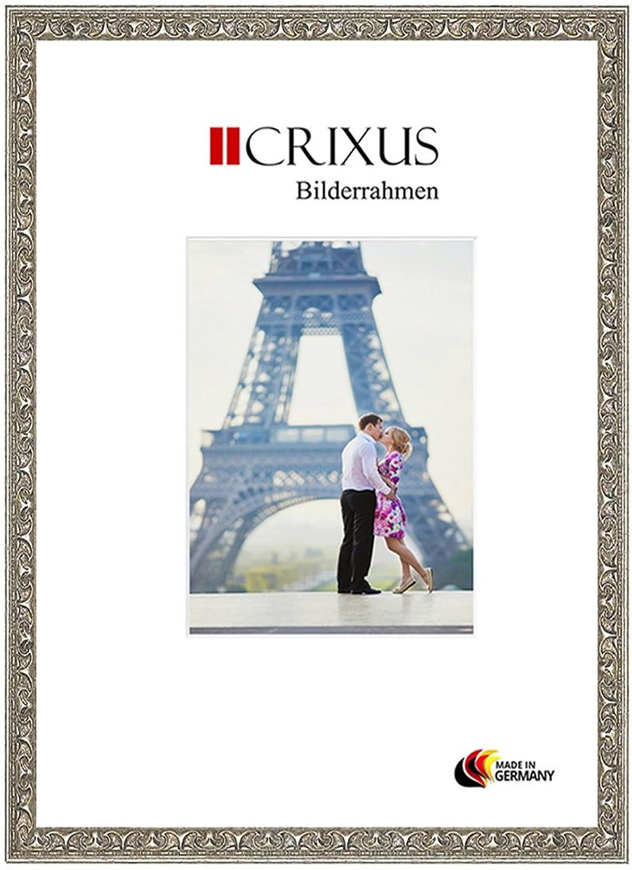 CRIXUS Crixus30 Marco de Fotos de Madera SóLIDA para 53 x 34 cm Fotos, Color  Plata Relieve, con Vidrio acrílico antirreflectante (1mm), Ancho del Marco  30mm, Tallas externas  57,8 x 38,8 cm