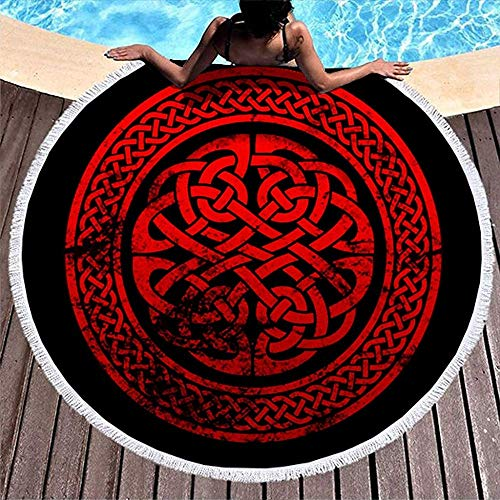 Leo-Shop - Toalla de Playa de círculo Rojo Sangriento Totem, impresión a Prueba de Arena - Toalla de Playa Redonda - Toalla de Playa Redonda Psichedelico - Manta de Viaje