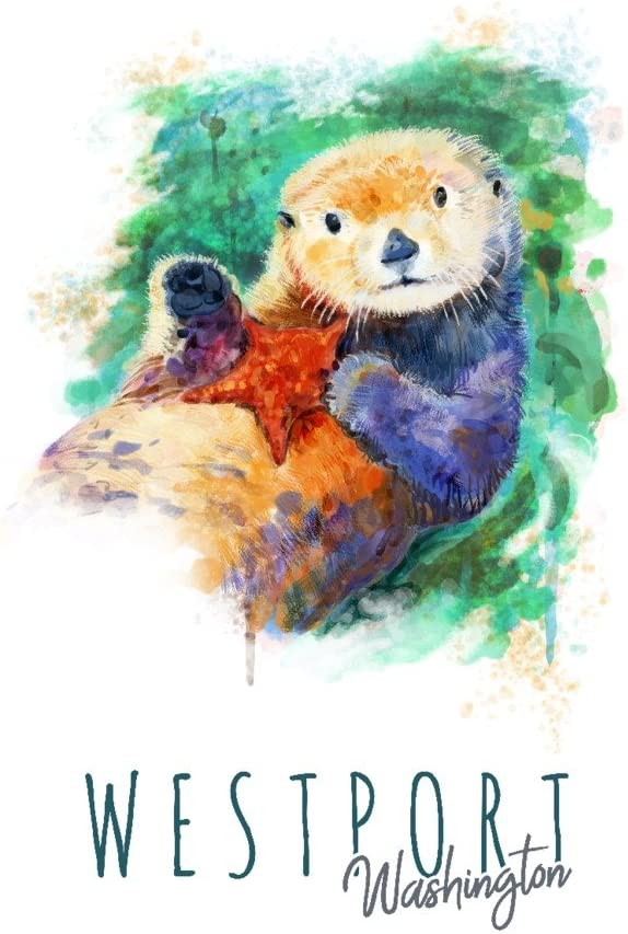 Westport Washington - Sea Otter Gall Watercolor Max 56% OFF Los Angeles Mall Giclee 36x54