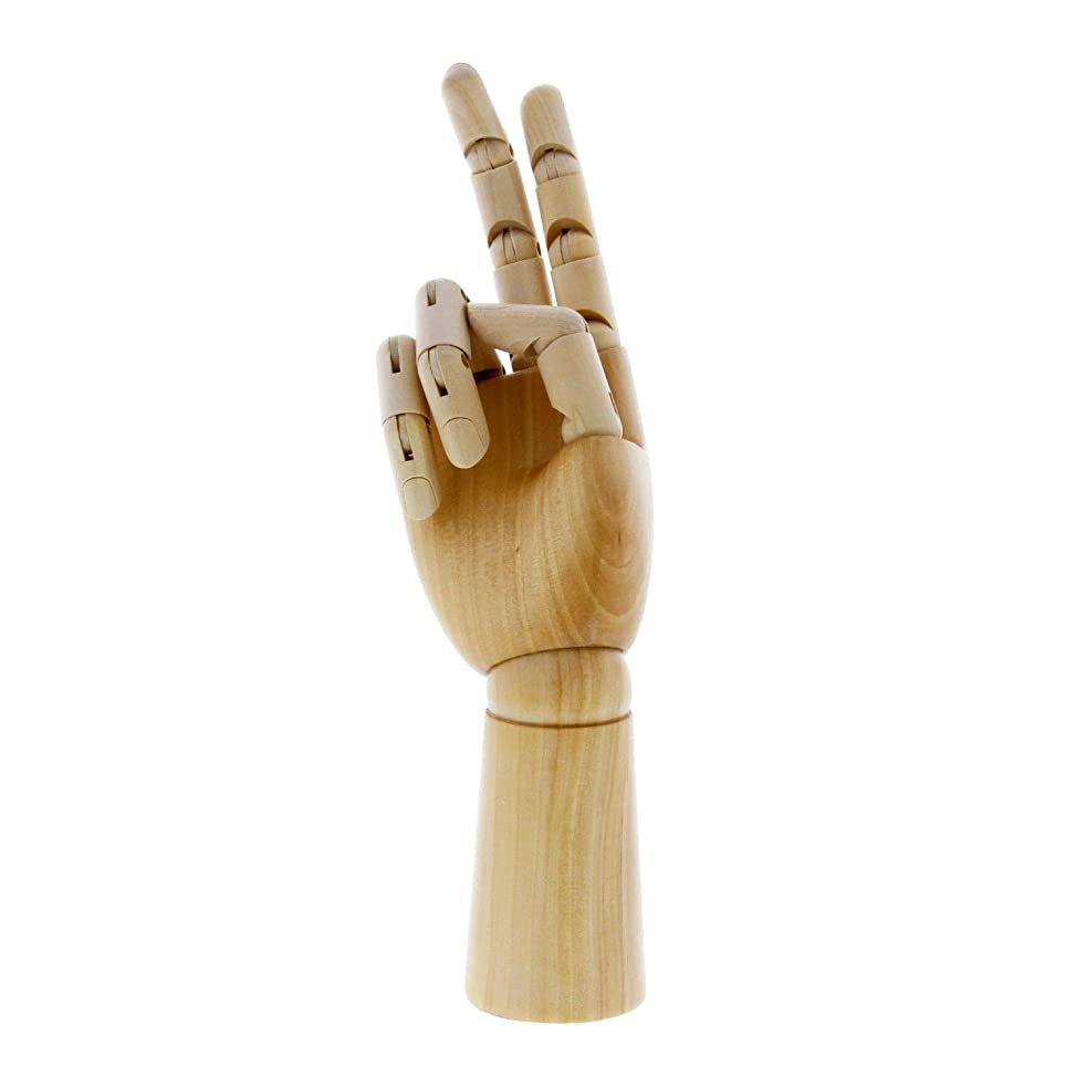 US Art Supply Wood Artist Drawing Manikin Articulated Mannequin with Wooden Flexible Fingers - Perfect for drawing the human hand (12
