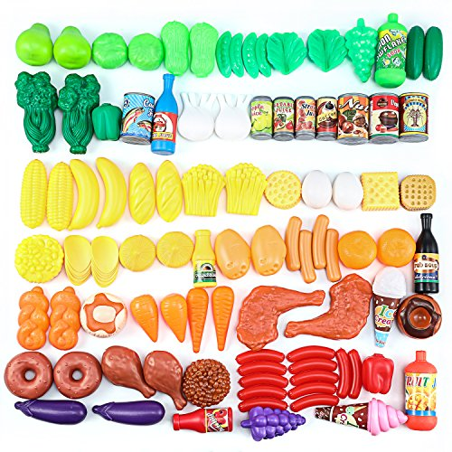 Pretend Food, Magicfly 120 Pcs Kids Pretend Play Food Kitchen Play Set for Toddlers Inspires Imagination, Play Kitchen Set with Childrens Educational Food Toys - Fake Plastic Foods for Cooking