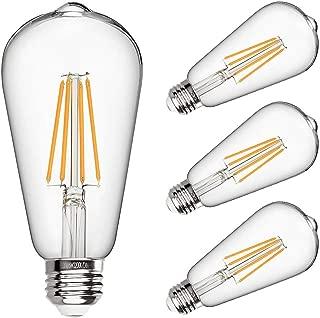 LED Edison Bulb Dimmable 6W Vintage Led Light Bulb 60W Equivalent 2200K Warm White 520 Lumen ST64 Led Filament Bulb E26 Medium Base Decorative Clear Glass for Bathroom Kitchen Dining Room, 4 Pack