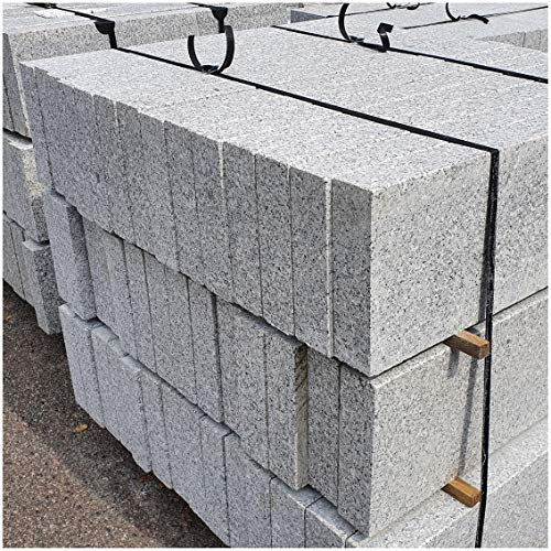 AUPROTEC Granit Bordstein Naturstein massiv 8 x 30 x 100 cm Leistenstein grau DIN EN 1343