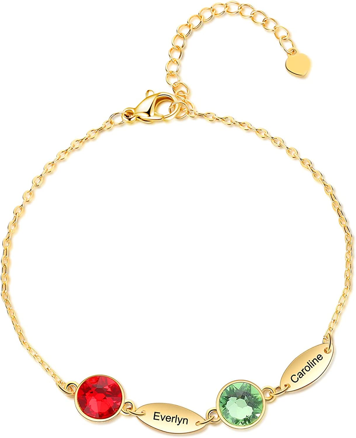 Personalized Name Link Bracelet for Women Engraved1-6 Names Gold Bracelets with Simulated Birthstones Family Bracelets for Mother Daughter
