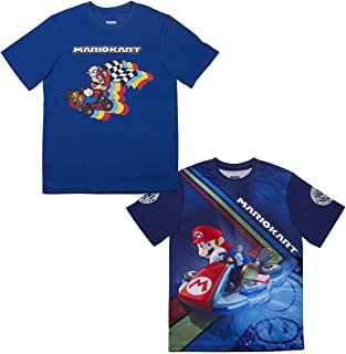 Nintendo Super Mario & Luigi Boys Athletic Gamer Top Graphic Tee Shirt 2 Pack (Black/Blue, 10/12)