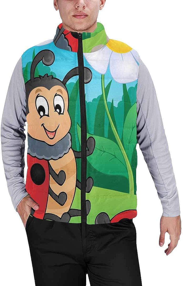 InterestPrint Winter Lightweight Personality Design Padded Vest for Men Ladybug Design XS