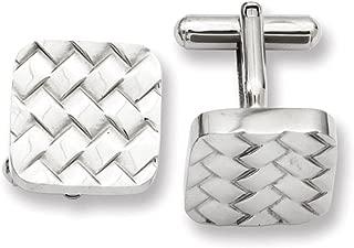Lex & Lu Chisel Stainless Steel Weave Design Cuff Links 17mm