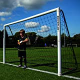 QUICKPLAY PRO Match-Fold Soccer Goal 8x5' with Carry Bag [Single Goal] Professional Quality Fast Set-Up Soccer Goal, Folds Flat for Shared Spaces