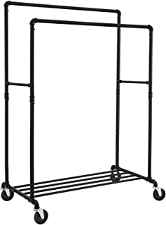 SONGMICS Industrial Pipe Clothes Rack Double Rail on Wheels with Commercial Grade Clothing Hanging Rack Organizer for Garment Storage Display, Black UHSR60B