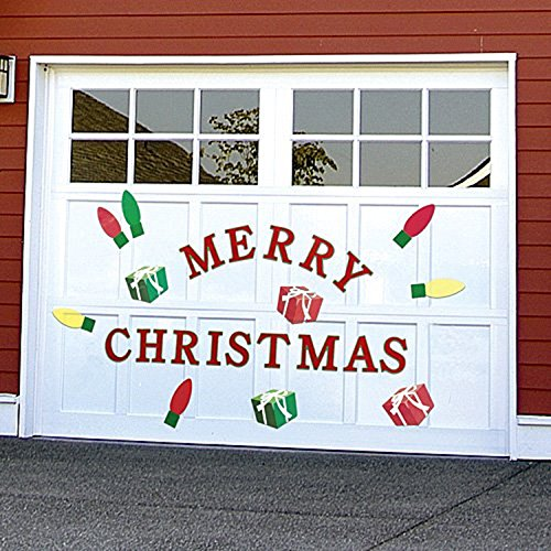 Bandwagon Christmas Garage Door Decals, Red,