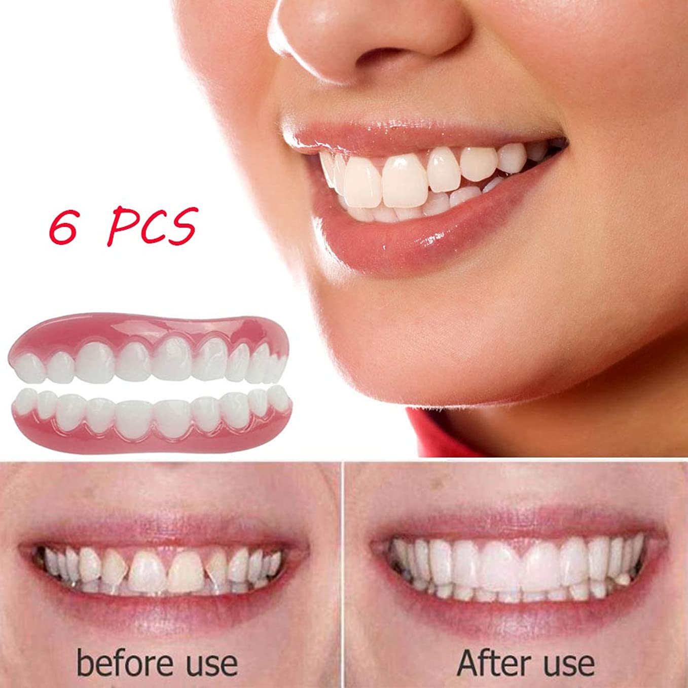 エイズレーザ私たちの完璧なインスタントスマイル6ピース快適さ上下の柔軟な歯ホワイトニング歯義歯義歯メイクアップデンタルカバー美容ツール