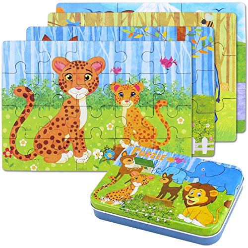 Jigsaw Wooden Puzzles Toy in a Box for Kids, Pack of 4 with Varying Degree of Difficulty Educational Learning Tool Best Birthday Present for Boys Girls (Leopardo)