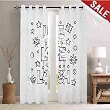 Live Laugh Love Decorative Curtains for Living Room Doodle Style Quote with Flowers Hearts and Stars Coloring Book Design Waterproof Window Curtain W72 x L84 Inch Black White
