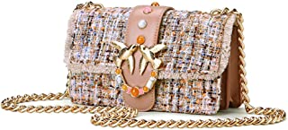 PASTE 毛呢真皮女包 新款针织单肩斜挎链条包宝石时尚燕子包 (奶茶色, 大号)
